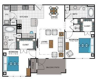 2 Bed 2 Bath B1 Floor Plan at Westside Heights, Atlanta, GA
