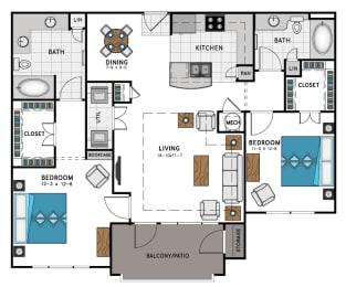 2 Bed 2 Bath B2 Floor Plan at Westside Heights, Atlanta, 30318