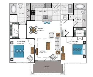 2 Bed 2 Bath B4A Floor Plan at Westside Heights, Atlanta