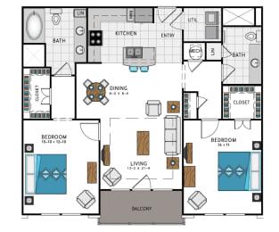2 Bed 2 Bath B5C Floor Plan at Westside Heights, Atlanta, 30318