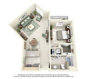 1 Bed 1 Bath 1x1 Floor Plan 776 sq ft at Domaine at Villebois , Wilsonville, OR, 97070