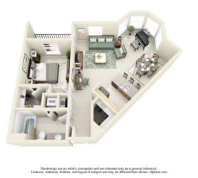 1 Bed 1 Bath 1x1 Floor Plan 860 sq ft at Domaine at Villebois , Wilsonville