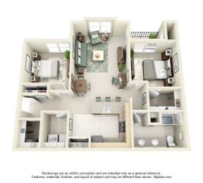2 Bed 1 Bath 2x1 Floor Plan 1023 sq ft at Domaine at Villebois , Wilsonville, OR