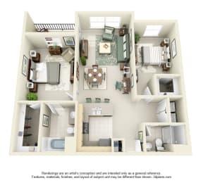 2 Bed 2 Bath 2x2 Floor Plan 1074 sq ft at Domaine at Villebois , Oregon