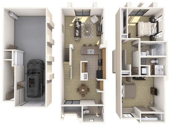TH1 Premier - 2 Bedroom 2 Bath Floor Plan Layout – 1274 Square Feet