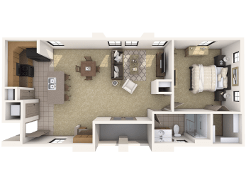 A3L Premier - 1 Bedroom 1 Bath Floor Plan Layout – 908 Square Feet