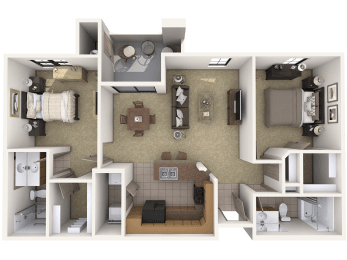 B2 Premier - 2 Bedroom 2 Bath Floor Plan Layout – 1027 Square Feet