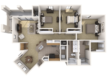 C2 Premier - 3 Bedroom 2 Bath Floor Plan Layout – 1483 Square Feet