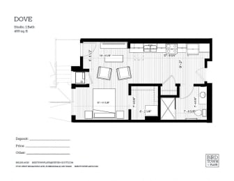 Dove Floor Plan at Birdtown Flats, Robbinsdale, MN, 55422