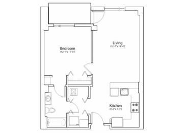 Floor Plan 1X1 718