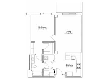 Floor Plan 1X1 770