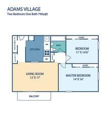 Two Bedroom Apartment Adams Village in Dorchester, MA