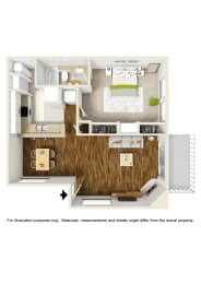 1 Bed 1 Bath 1x1 B Floor Plan at Atwood Apartments, Citrus Heights