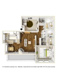 2 Bed 2 Bath 2x2 B Floor Plan at Atwood Apartments, California, 95610