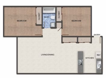 Floor Plan  Cedar 2x1