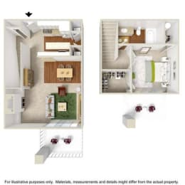 1 Bed 1 Bath Townhome Floor Plan at Haven at Charbonneau, Wilsonville, OR, 97070