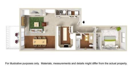 1 Bedroom 1 Bath Flat Floor Plan at Haven at Charbonneau, Oregon, 97070