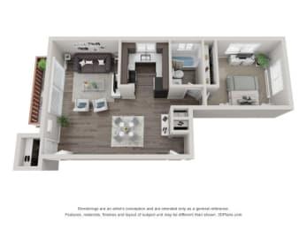 3D One-Bedroom Apartment Floor Plan at Westmont Village, Westmont, Illinois