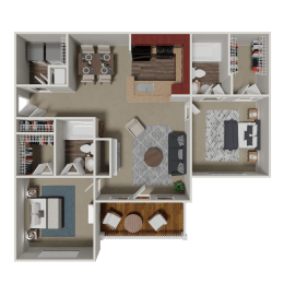 Berkley 2 Bedroom 2 Bath Floorplan at Crestmark Apartment Homes, Lithia Springs