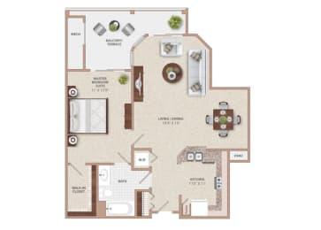 Floor Plan THE HAVEN ONE BEDROOM ONE BATH