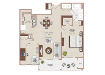Floor Plan ONE BEDROOM ONE BATH WITH DEN