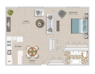 One bedroom one bath apartment home at Broadfalls