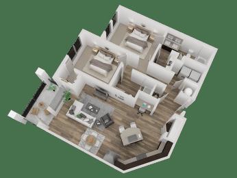 Westminister Apts For Rent, CO 80020 l Caliber at Hyland Village l 2x2 Floorplan