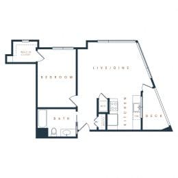 1A – 1 Bedroom 1 Bath Floor Plan Layout – 772 Square Feet