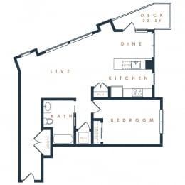 1C – 1 Bedroom 1 Bath Floor Plan Layout – 985 Square Feet