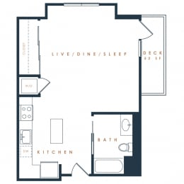 S2 – 0 Bedroom 1 Bath Floor Plan Layout – 491 Square Feet
