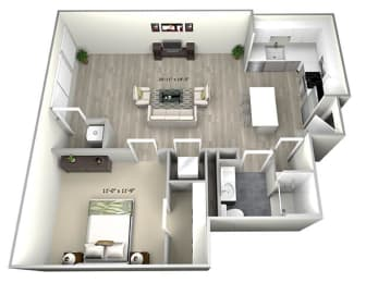 1 Bed 1 Bath TruaK Floor Plan at 735 Truman, Massachusetts
