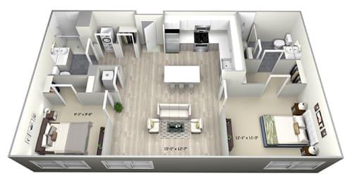 2 Bed 2 Bath TrubC Floor Plan at 735 Truman, Hyde Park
