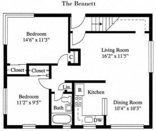 2 Bed 1 Bath The Bennett Floor Plan at Park Georgetown, Arlington, Virginia