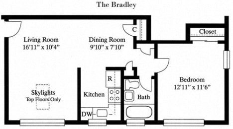 1 Bed 1 Bath The Bradley Floor Plan at Park Georgetown, Arlington