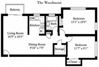 2 Bed 1 Bath The Woodmont Floor Plan at Park Georgetown, Arlington, 22209