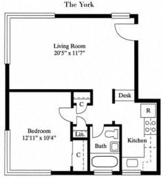 1 Bed 1 Bath The York Floor Plan at Park Georgetown, Arlington, VA, 22209