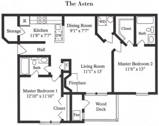 The Asten 2 Bed 2 Bath Floor Plan at Saratoga Square, Springfield
