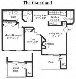 The Courtland 1 Bed 1 Bath Floor Plan at Saratoga Square, Springfield, Virginia
