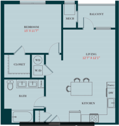 A2 - 1 Bedrooms 1 Bath Apartment Floor Plan Design - 739 sq. ft. - Apartments in Des Plaines