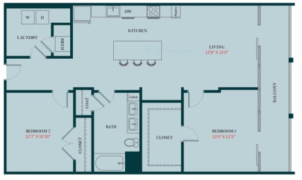B1 - 2 Bedrooms 2 Baths Apartment Floor Plan Design - 1161 sq. ft. - Apartments in Des Plaines