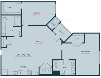 B4 - 2 Bedrooms 2 Bath Apartment Floor Plan Design - 1259 sq. ft. - Apartments in Des Plaines