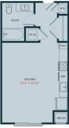 S1 - Studio Apartment Floor Plan Design - 471 sq. ft. - Apartments in Des Plaines