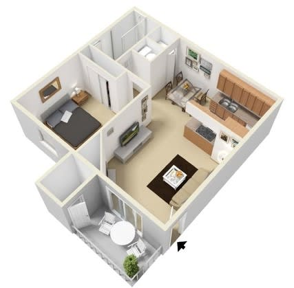Floor Plan  1 Bedroom 1 Bathroom Floor Plan at The Glen at Briargate, Colorado Springs, CO, 80920