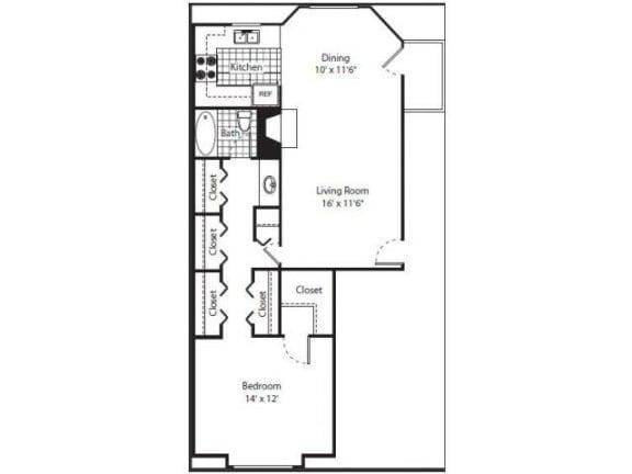 Floor Plan  One bedroom one bathroom at Laurel Grove Apartment Homes, Orange Park, FL