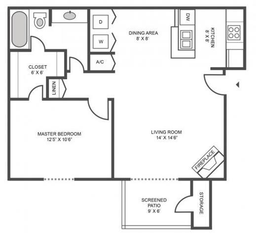 Floor Plan  1 bed 1 bath Floor Plan at Jasmine Creek Apartments, Pensacola