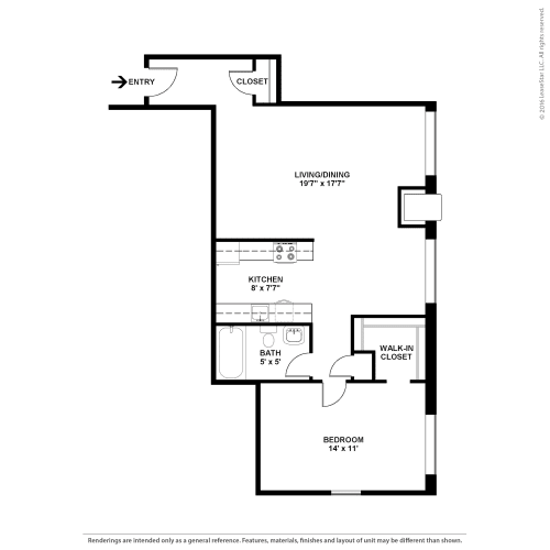 Floor Plan  One Bedroom- The Cedar