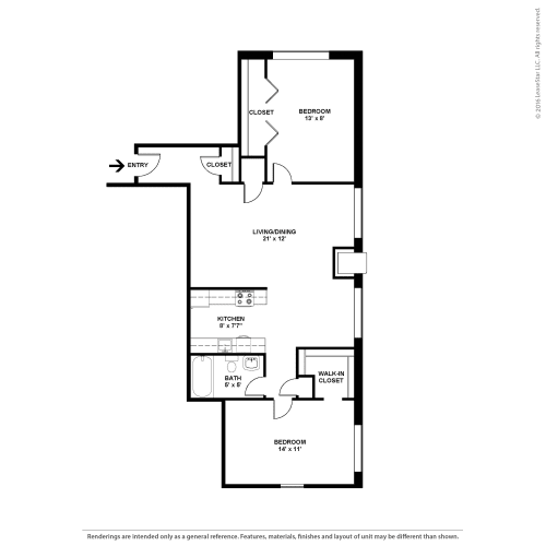 Floor Plan  Two Bedroom- The Cypress