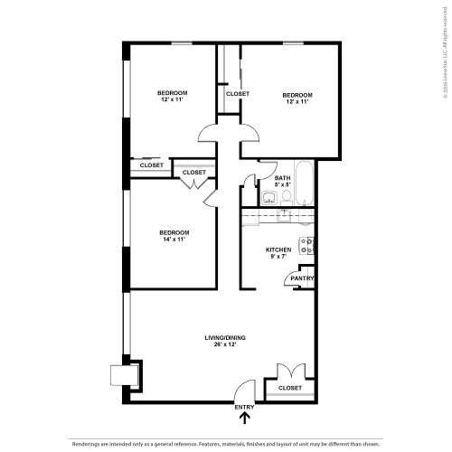 Floor Plan  Three Bedroom- The Deville