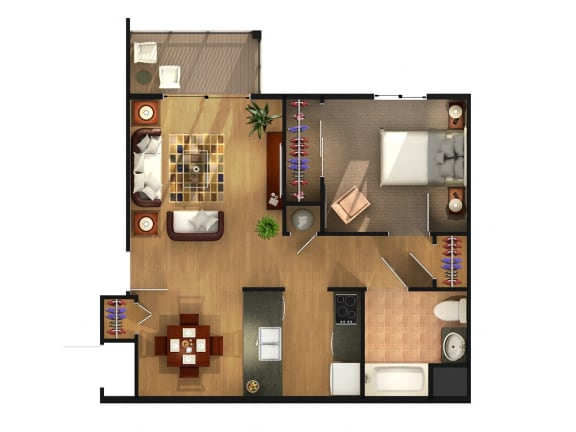 Floor Plan  One bedroom One bathroom Floor Plan at Geary Estates Apartments, MRD Conventional, Kansas
