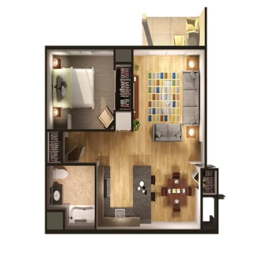 Floor Plan  One bedroom One bathroom Floor Plan at Steedman Apartments, MRD Conventional, Waterville, OH, 43556